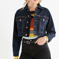 UO Boyfriend Cropped Denim Trucker Jacket | Urban Outfitters