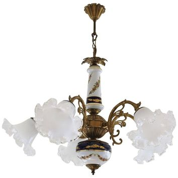 Vintage Limoges Porcelain and Murano Glass Chandelier Pendant, circa 1950