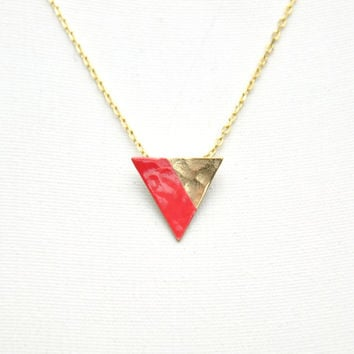 14k Yellow Gold Filled Triangle Necklace - Coral Red Handpainted Lined Triangle - Gold Plated Delicate Chain - Simple Everyday Necklace