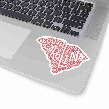 South Carolina State Shape Sticker Decal - Coral