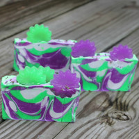 purple lye soap, green lye soap, handmade lye soap, flower soap, presents for her, natural soap, cold process soap, xmas presents