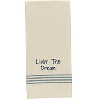 Livin' the Dream - Cotton Kitchen Dish Towel with French Stripes