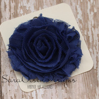 Rosette Hair Clip, Royal Blue Rosette, Frayed Chiffon Hairclip, Children's Hair Accessories, Toddler Hairclip, Girls Bow, Flower Hairclip