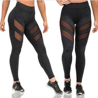 Women Mesh Hollow Out Yoga Sports Pants Trousers Sweatpants