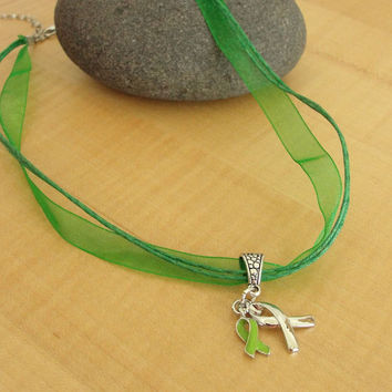 Green Awareness Necklace - Cerebral Palsy, Glaucoma, Kidney Disease, Liver Cancer, Organ Donation & More