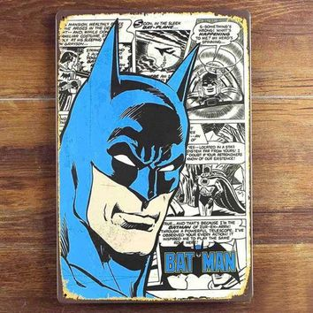 VONGB5 Batman Tin sign Vintage Metal Poster Picture Iron Painting Mural Bar Cafe Home Art Decor Cartoon Wall Stickers
