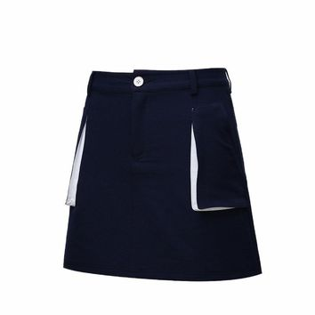 Summer Lady Solid Color Golf Skirts Breathable High Waist Pocket Sport Skirts Woman Quick Dry Elastic Golf Tennis Skirts AA60477