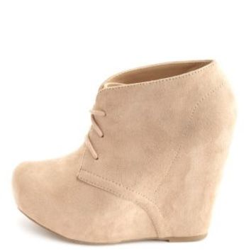 Lace-Up Platform Wedge Bootie by Charlotte Russe - Oatmeal