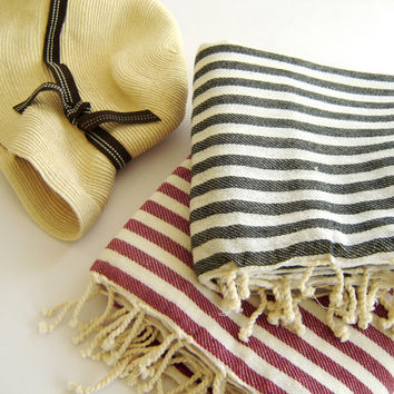 SALE Set of 2 Turkish Bath Towel: Peshtemal,  Bath, Beach, Spa Towel, Black and Red, , mom, summer coverups, bridesmaid