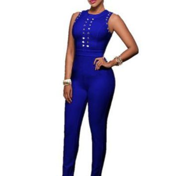 JRRY Fashion Sleeveless Skinny Long Blue Women Jumpsuit New Solid Pattern Ladies Club Romper