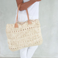 Beach bag,Straw Bag,Straw Beach Bag, Beach Tote, Leather Bag,Summer Bag, Basket,Turquoise Bag,Casual Bag