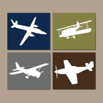 AIRPLANE Wall Art, CANVAS or Prints, Baby Boy Nursery Decor, Airplane Theme, PLANES, Aviation Decor, Navy Green, Set of 4, Big Boy Bedroom