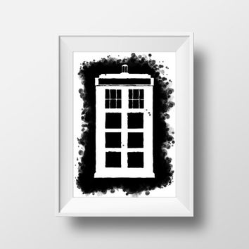 Doctor Who Poster, Movie Poster, Contrast, Blot, Ink TARDIS