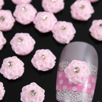 20pcs Nail Art Tips Decoration Design Rose Flower Rhinestones