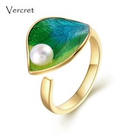 Vercret adjustable 18k gold freshwater pearl ring 925 sterling silver ring dainty pearl on leaf  jewelry gift for women