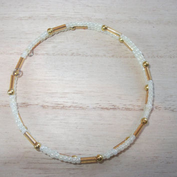 Ivory and golden seed beaded memory wire bracelet