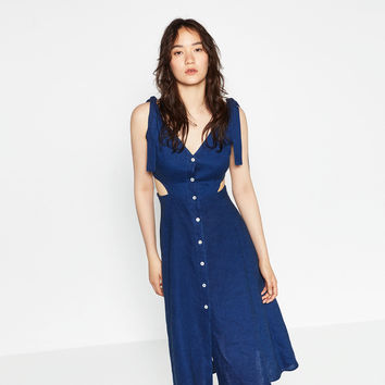 CUT - OUT LINEN DRESS-View all-WOMAN-NEW IN | ZARA United Kingdom