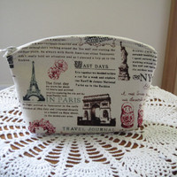 Antiquebasketlady Cosmetic Bag Clutch Zipper Purse Travel Journal Made in the USA