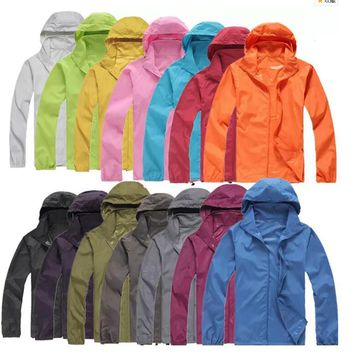 WOMEN AND MEN Fast drying Outdoor Casual Sports Waterproof UV Jackets Coats Windbreaker more colours