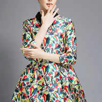 Printed Pointed Flat Collar Half Sleeve A-Line Pleated Mini Dress