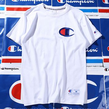 Champion spring and summer youth tide brand T shirt men and women lovers White