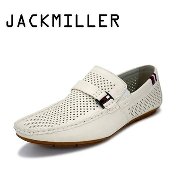 Jackmiller Summer Men's Shoes Loafers Summer Breathable Light Soft Men's Flats Shoes Comfortable Handmade Low Men's Casual Shoes