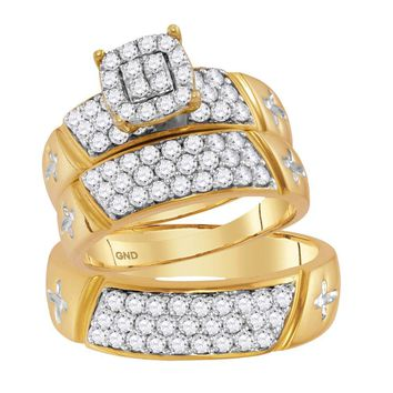 14kt Yellow Gold His & Hers Round Diamond Cluster Crosses Matching Bridal Wedding Ring Band Set 1-5/8 Cttw