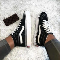 Vans Sk8-hi 'Black/white' New fashion sports leisure sneakers shoes