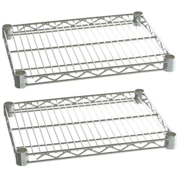 "Commercial Kitchen Heavy Duty Chrome Wire Shelves 14"" x 24"" with Clips (Box of 2)"