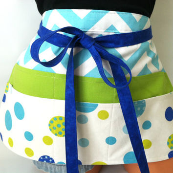 Chevron Polka Dot Teacher Apron - Aqua Chartreuse Royal Blue Apron, Polka Dot Apron, Teacher Toolbelt, Canvas Apron, Fun Teacher Apron