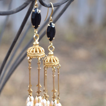long gold and pearl chandelier earrings