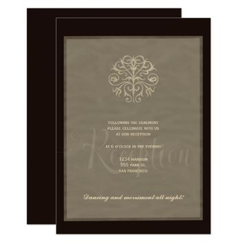 Black silver elegant luxury wedding reception card