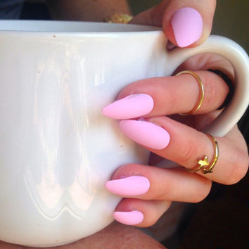 Matte Pink nails, matt baby pink nails, Matte press on nails, pink stiletto nails