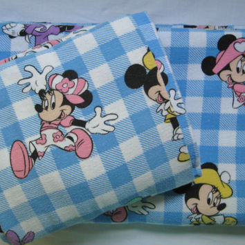 Vintage Disney Minnie Mouse Flannel Twin Size Bedding Set Flat Fitted Bed Craft Fabric Clean Kid Girl Used Made in Canada