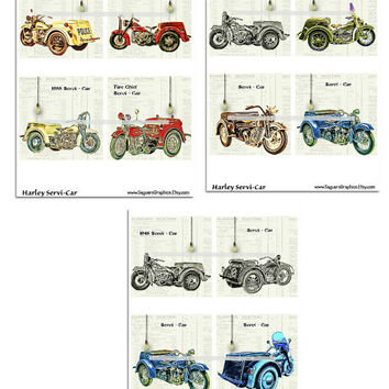 Harley Servi-Cars Motorcycles Altered Art - Coasters Artwork, 4.0 inch Squares, Arts and Craft Projects