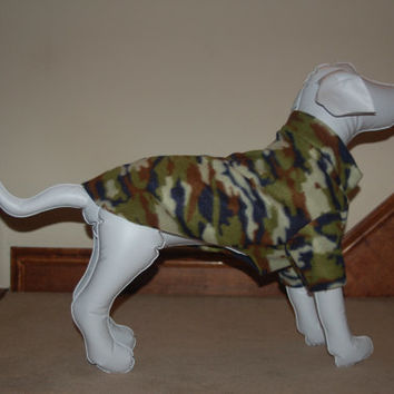 Medium Dog Sweater Dog Coat in Field Camo Fleece to Fit Small/Medium Dog Breeds. Fits up to 26 inch chest. Dog Clothes, Pet Clothes