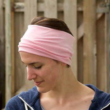 Workout Headband, Yoga Head Wrap, Spandex Headband, Wide Jersey Hair Wrap, Light Pink