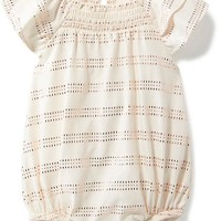 Sparkle-Patterned Flutter-Sleeve Bubble Romper for Baby | Old Navy