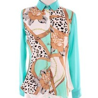 Mint Leopard Printed Blouse  — Tanny's Couture LLC