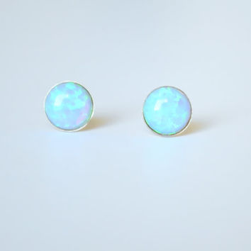 Fire Opal studs earrings. Sale! 6 mm. Gold Filled. Opal earrings. Blue Opal. Opal stud. Opal Post. Small studs. Christmas gift. black Friday