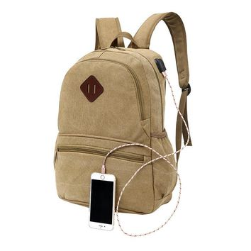 2018 New Canvas Backpack Anti-theft College Students School Backpack USB Charging Design Bags for Teenager Travel Backpack