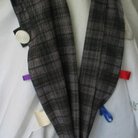 Gray Plaid Polyester Fabric Scarf for Mommy and Teething Baby.  Jeweled with Ribbon, Buttons, Rings, Wood Balls