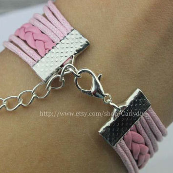 Sisters jewelry bird with infinite charm bracelet, pink bridesmaid gifts, sister gift,