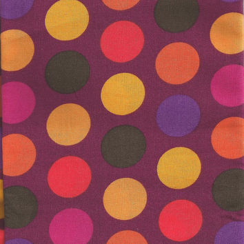 Purple, Orange, and Yellow, Polka Dots 31 Inches Cotton Fabric LAST PIECE
