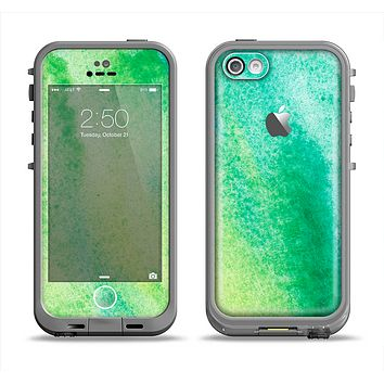 The Vibrant Green Watercolor Panel Apple iPhone 5c LifeProof Fre Case Skin Set
