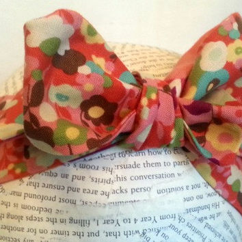 Headwrap - Reversible Head Wrap - Baby Head Wrap - Knot Tie Headband - Big Bow Head Wrap -  Retro Knot Head Wrap - Pink Flowers