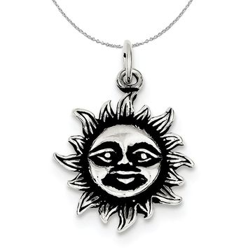 Sterling Silver 20mm Antiqued Sun Necklace