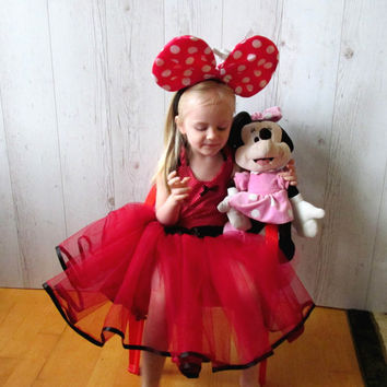 MINNIE MOUSE Dress Red Flower Girl Dress, Tutu Party Dress, Minnie Mouse Tutu Outfit