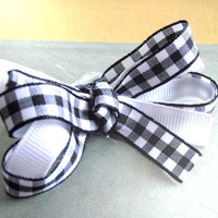 Reserved for Rathersk - Black and White Gingham Bow Set (2)