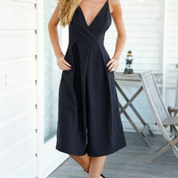 Black V-neck Open Back  Wide Leg Rompers